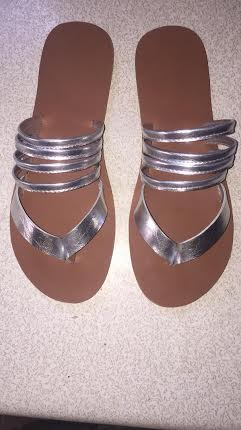 Fashionable Ladies Leather slipper | Silver Colour