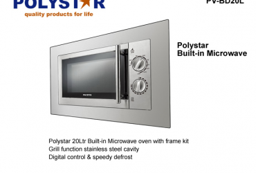 Polystar 20 Litres Inbuilt Microwave Oven with Grill Function | PV-BD20L