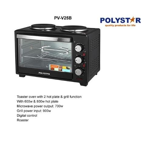 Polystar 25L Microwave Oven With 2 Hotplates | PV-V25B